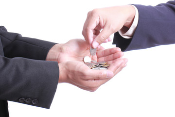 Businessman give money to partner