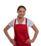 Smiling chinese waitress is ready to start