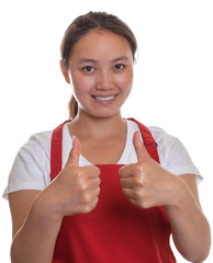 Friendly chinese waitress showing both thumbs up