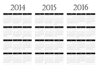 Calendar 2014-2015-2016
