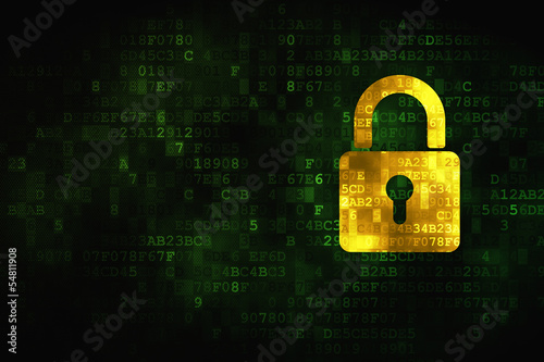 Information concept: Closed Padlock on digital background