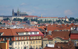 View of Prague Castle over the roofs of city buildings