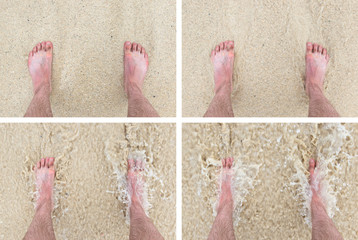 Feet standing still on a beach