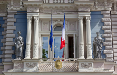 Close-up On Facade of the French Embassy in Riga