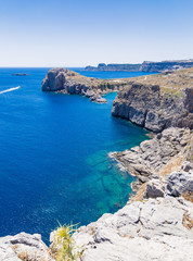 st paul's bay and rocks at Lindos, Rhodes, Greece