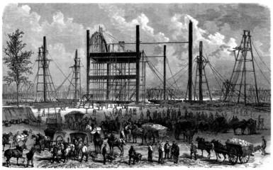 Begining Eiffel Tower Construction (Paris, April 1866)