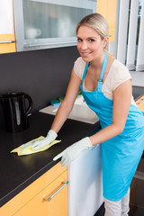 Woman Cleaning Worktop