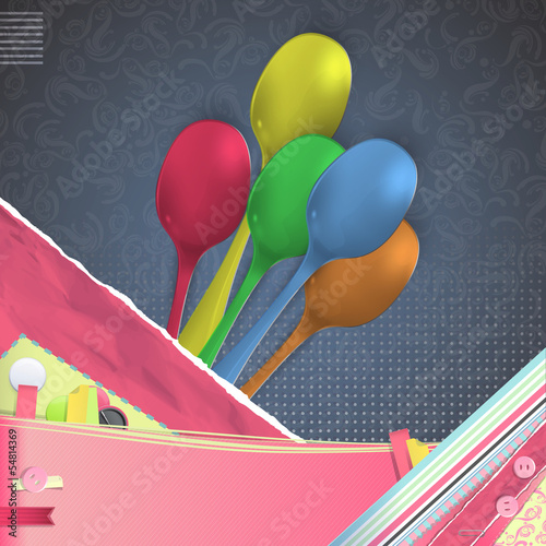 Nice design with realistic colorful spoon. Vector design.