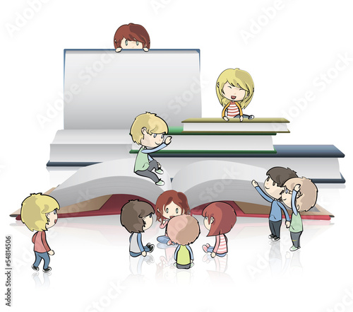 Kids around empty books. Vector design