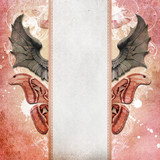 Vintage shabby chic background with dragon wings