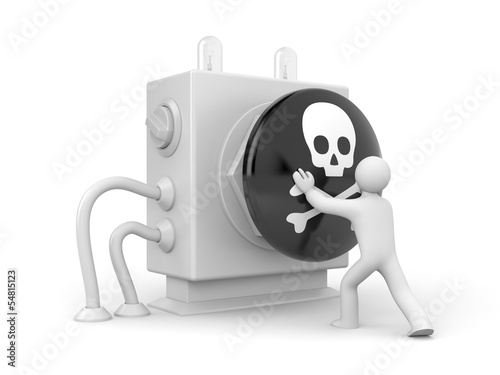 Person push button with skull sign