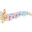 Bunte Musiknoten mit Textfreiraum