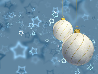 Christmas baubles on blue starry background