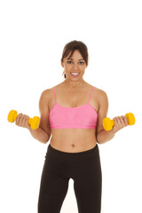 fitness woman pink sports bra weights curl