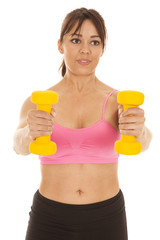 fitness woman pink sports bra weights out