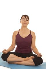 woman fitness yoga meditate eyes closed
