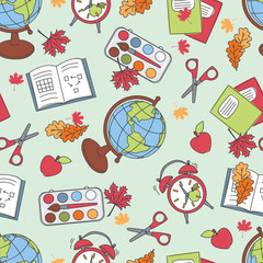 Colorful seamless pattern with school supplies