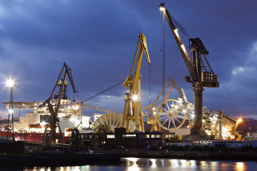 Shipyard working at night.