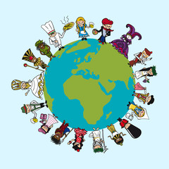 Diversity people cartoons, distinctive outfit, planet earth illu