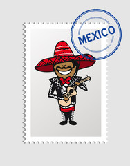 Mexican cartoon person postal stamp