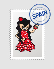 Spanish cartoon person postal stamp