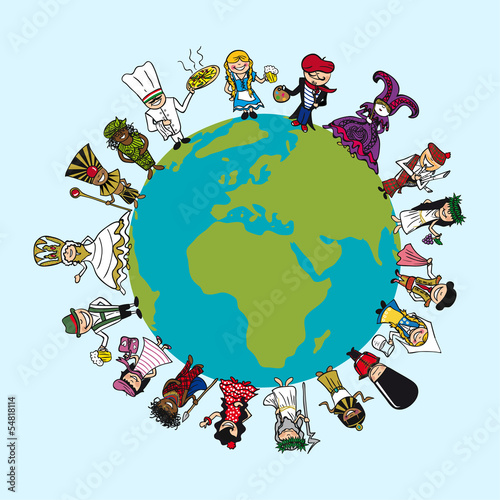 Diversity people cartoons, distinctive outfit, planet earth illu