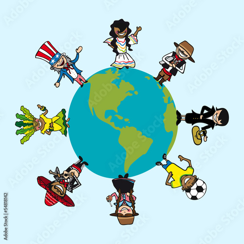 Diversity people cartoons over world map