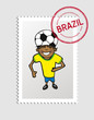 Brazilian cartoon person postal stamp