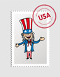 American USA cartoon person postal stamp