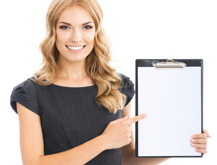Businesswoman showing blank clipboard