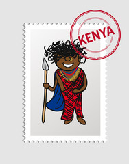 Kenyan cartoon person postal stamp