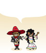 Mexican cartoon couple social media buble