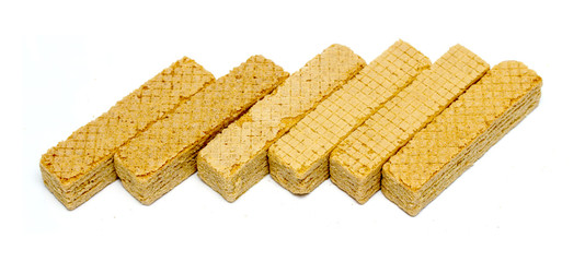 wafer cookies on a white background