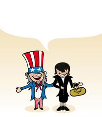 American cartoon couple social bubble