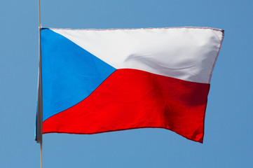 Czech flag in wind against the sky