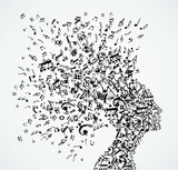 Woman head music notes splash