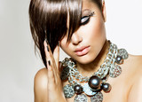 Fashion Glamour Beauty Girl With Stylish Hairstyle and Makeup - 54818908