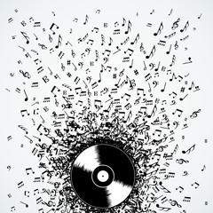 Dj music notes splash record vinyl