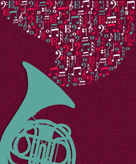Music notes splash Tuba illustration
