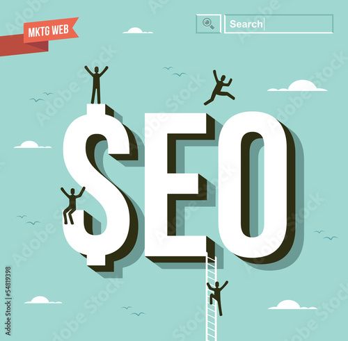 Seo business group illustration