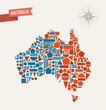 Australia geometric figures map illustration