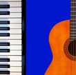 Guitar, piano on blue.