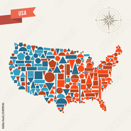 USA geometric figures map