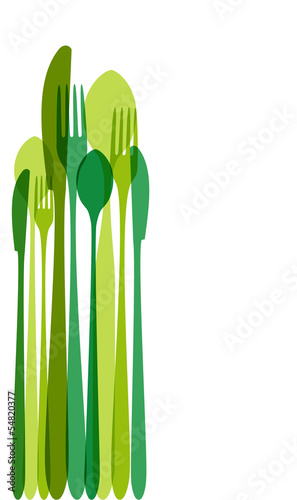 Green cutlery illustration