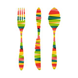 Cutlery shapes of stripes illustration
