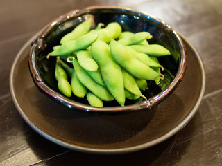 Cooked Green Organic Edamame with sea salt