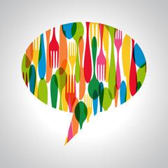 Cutlery speech bubble illustration