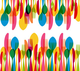 Dishware elements seamless pattern