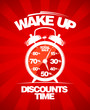 Discounts time. Red sale design with alarm clock