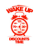 Wake up, discounts time. Sale design template with alarm clock